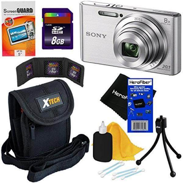 Sony Cyber-shot DSC-W830 20.1 MP Digital Camera with 8x Optical Zoom & Full HD 720p Video, Silver - International Version (No Warranty) + 7pc 8GB Accessory Kit w/ HeroFiber® Gentle Cleaning Cloth - intl