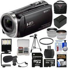 Sony Handycam HDR-CX455 8GB Wi-Fi HD Video Camera Camcorder with 64GB Card + + Case + Tripod + LED Light + Microphone + Tele/Wide Lens Kit
