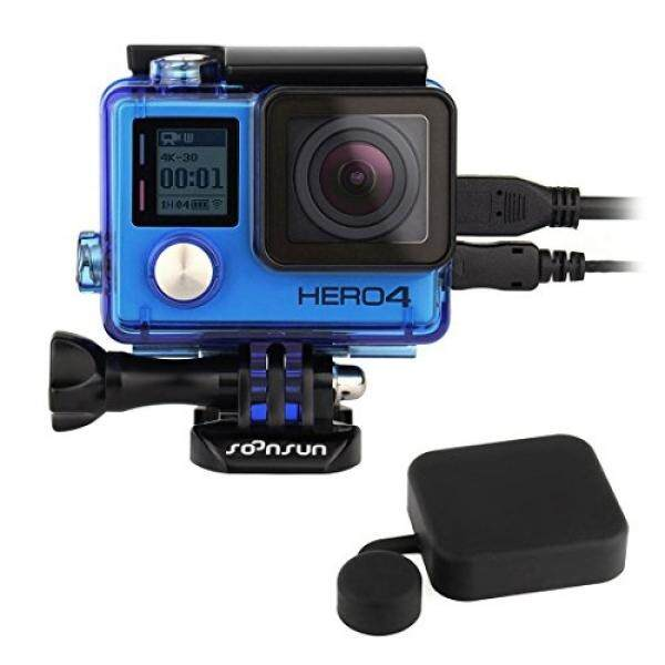 SOONSUN Side Open Protective Skeleton Housing Case with LCD Touch Backdoor and Standard Protective Housing Lens Cap Cover for GoPro Hero 4 Silver & Black (Blue) - intl