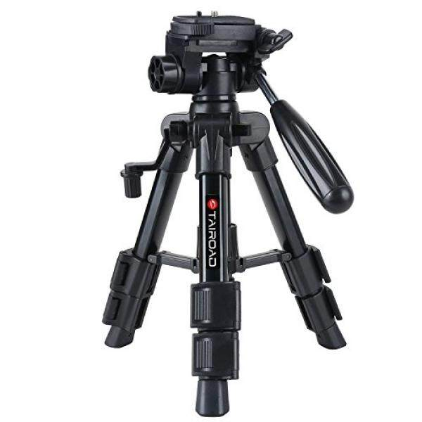 Tairoad T-111 Lightweight Mini Tabletop Tripod Stand with Pan Tilt Head and Flip Lock Compatible with Compact System Cameras Smartphone Projector (Black) - intl