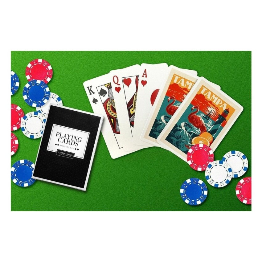 Tampa. Florida - Woodblock (Playing Card Deck - 52 Card Poker Sizewith Jokers) - intl