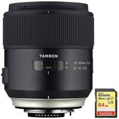 Tamron SP 45mm f/1.8 Di VC USD Lens for Canon EOS Mount (AFF013C-700) with Lexar 64GB Professional 633x SDXC Class 10 UHS-I/U3 Memory Card Up to 95 Mb/s