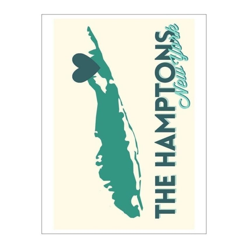 The Hamptons. New York - Heart Design (Playing Card Deck - 52 CardPoker Size with Jokers) - intl