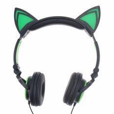 Dengan Kualitas Tinggi Ttlife Fashion Foldable Berkedip Menyala Headphone Telinga Kucing Earphone Headset Permainan dengan Lampu LED untuk PC Komputer Laptop Telepon Seluler (Hijau)