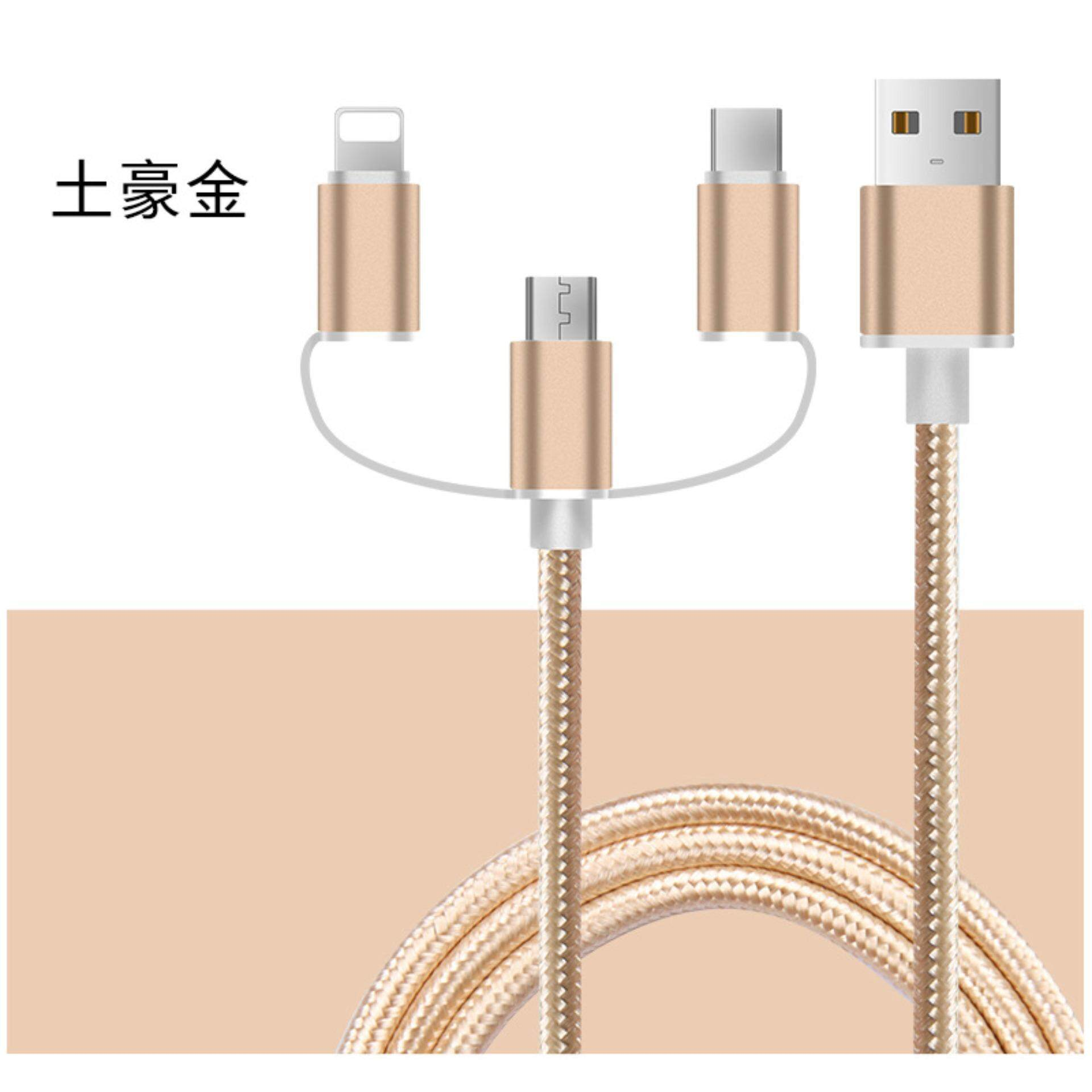 2 in 1 tipe C dan Android Micro Apple USB fast cable charging Tipe C kabel