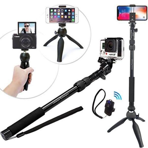 Yang Selfiestand Premium HD Kasar Selfie Tongkat + Tripod 3-Dalam-1 Paket Hadiah-Universal Sesuai- baru Iphone X, /6 Plus, HERO GoPro 6/5, samsung S8 + & Kamera Plus Bluetooth Jarak Jauh W/Tiang Dudukan-Internasional