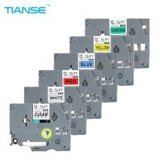 6PCS/Lot Laminated Label Tape Compatible for Brother P-touch Printer TZe-131 TZe-231 TZe-431 Tze-531 TZe-631 TZe-731 Black on Clear/White/Red/Yellow/Blue/Green 12mm*8m Ribbons for Brother TZ Tape PT-D210 PT-D200 PT-1010
