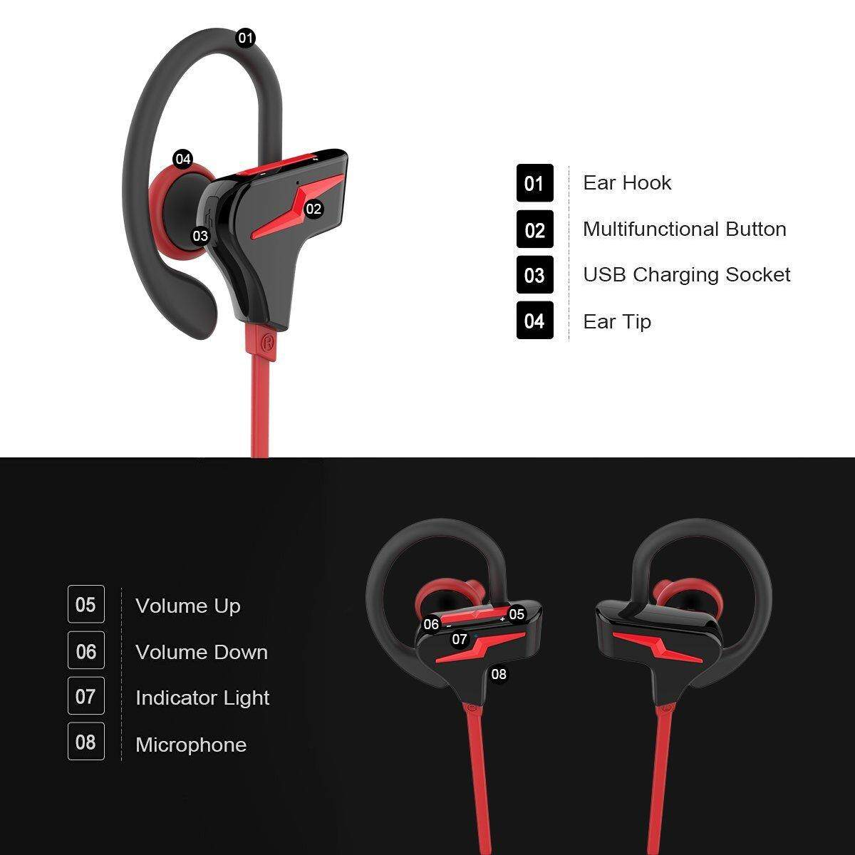 TONGXU LIFE Sports Bluetooth 4.1 Handfree Waterproof Wireless Neckband Stereo Headset Headphone For Cellphone PC Gym