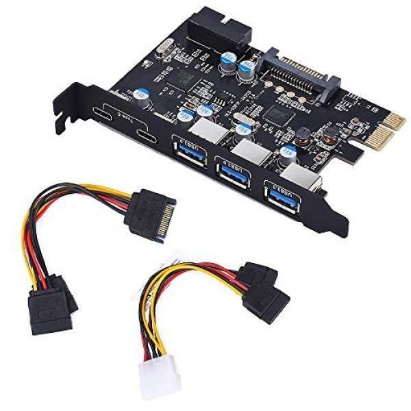 Totovin Totovin Pci-e untuk USB 3.0 C + 5-Port PCI Kartu Ekspres dan 15-Konektor Tenaga Pin, mini Pci-E Usb 3.0 Hub Adaptor Kontroler, dengan USB Internal ...