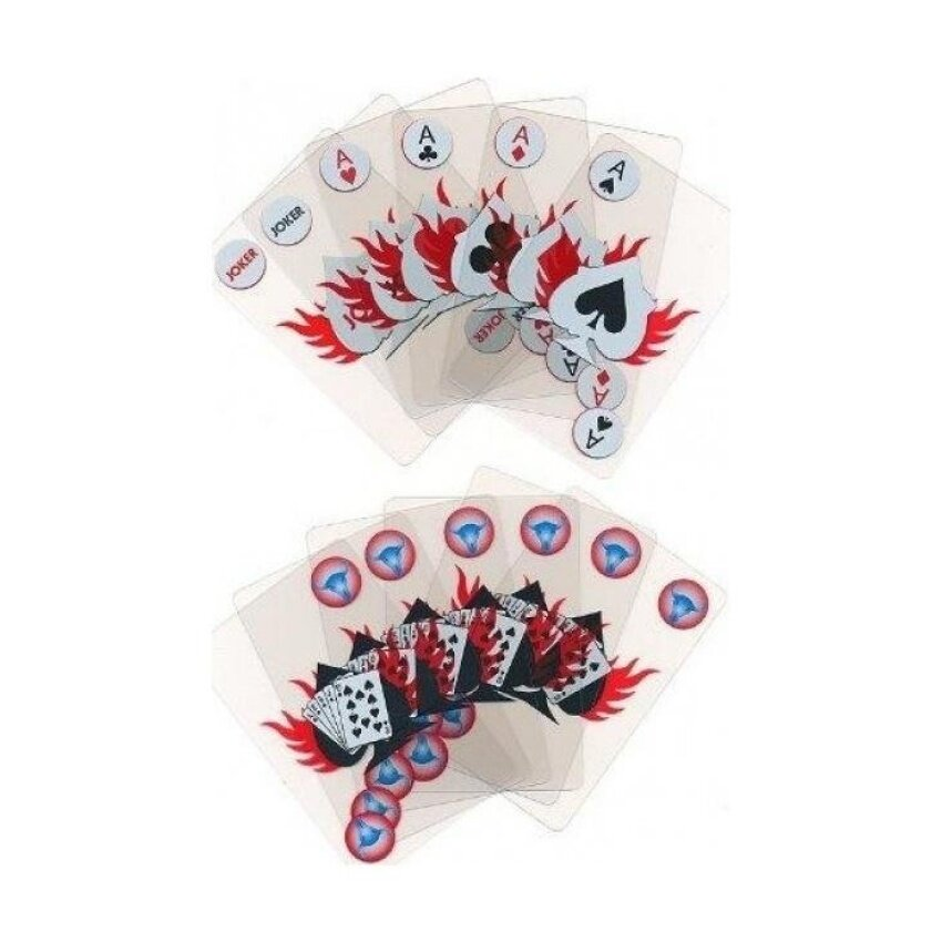 Transparent 100% Plastic Steer Head Flaming Deck of Cards - intl