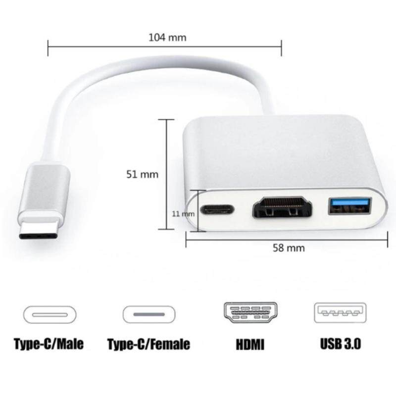 Type C 3.1 to USB3.0+ HDMI+Type C Female Multiport Adapter Cable for Apple Macbook Adapter - intl
