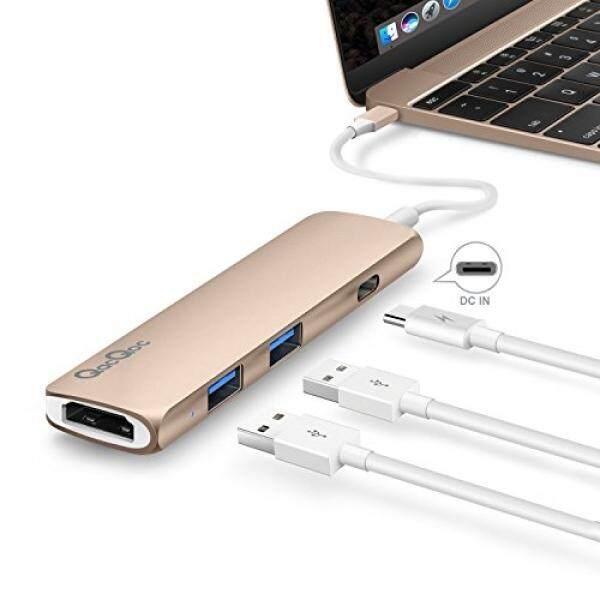 Tipe-c Hub Multi-port Adaptor, USB-C Hub dengan Daya Delivery 2 Superspeed USB 3.0 Port 1 Port HDMI 1 USB-C Masukan Pengisian Port dengan Pd spesifikasi untuk Macbook 12-Inci, paduan Aluminium Bangun (Emas)-Internasional