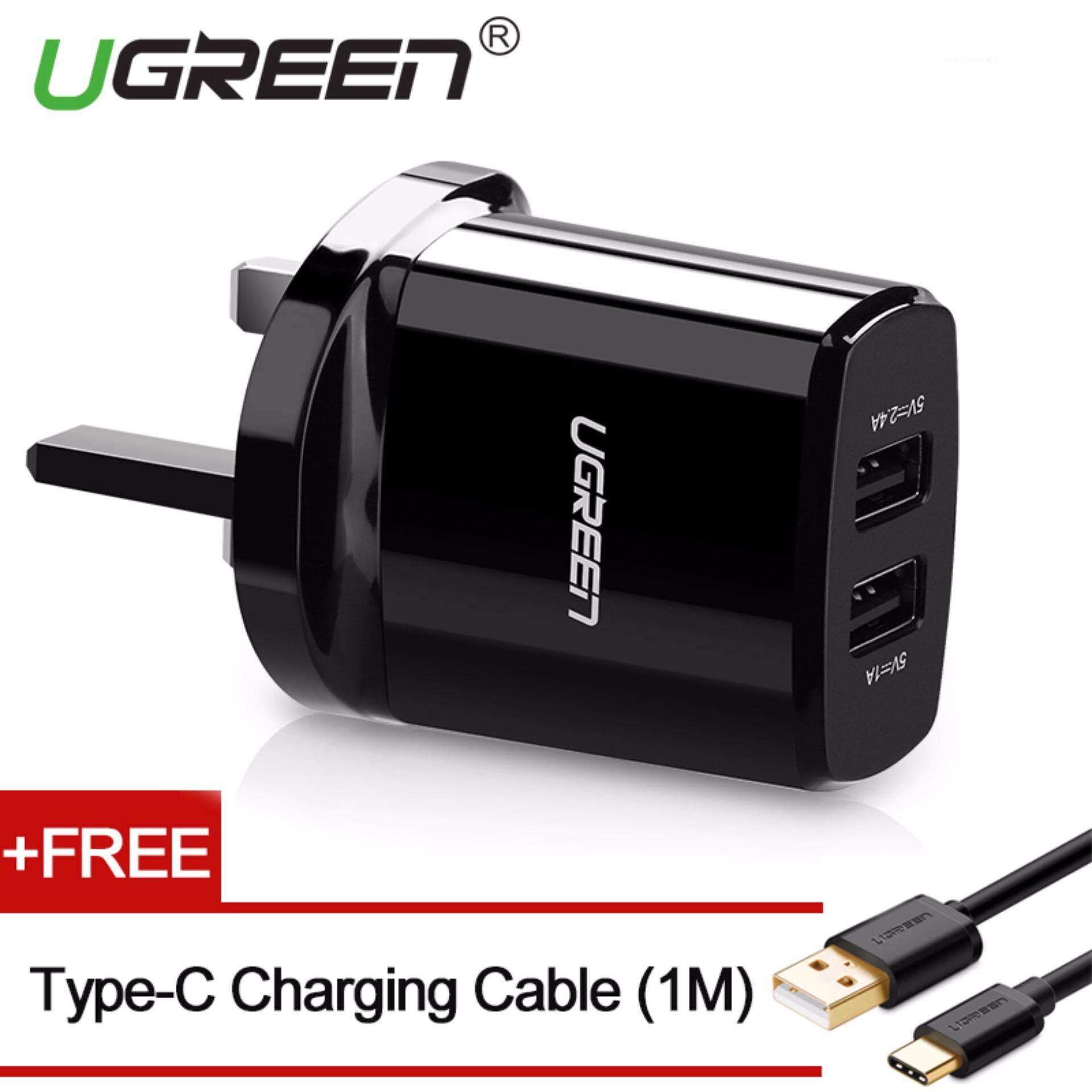 Ugreen USB 3pin UK Plug, 5V3. 4A Dual USB Charger Dinding dengan Gratis 1