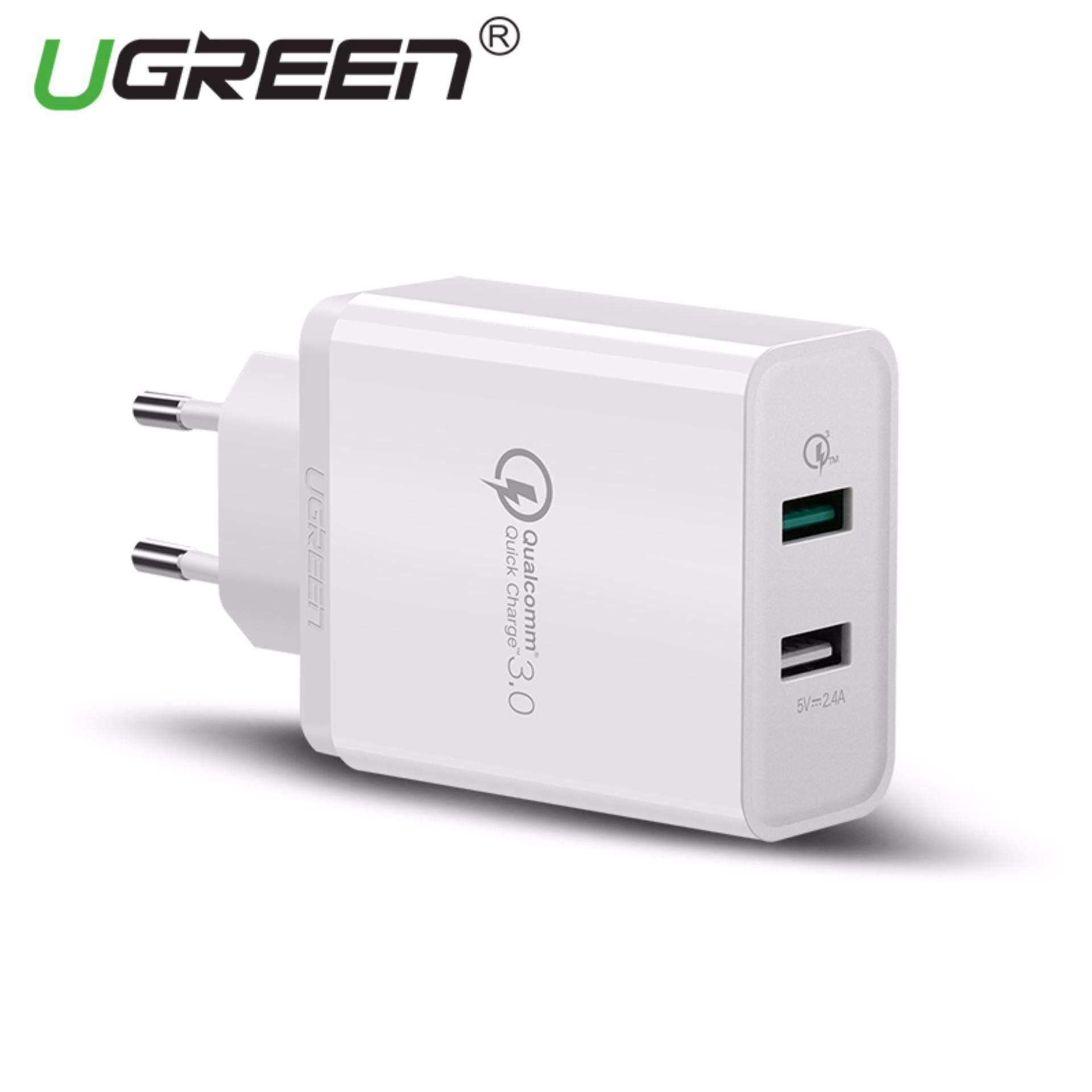 Ugreen Dual USB Charger Dinding Cepat Telepon Seluler Charger dengan Kabel dengan Pengisian Cepat 3.0 Port