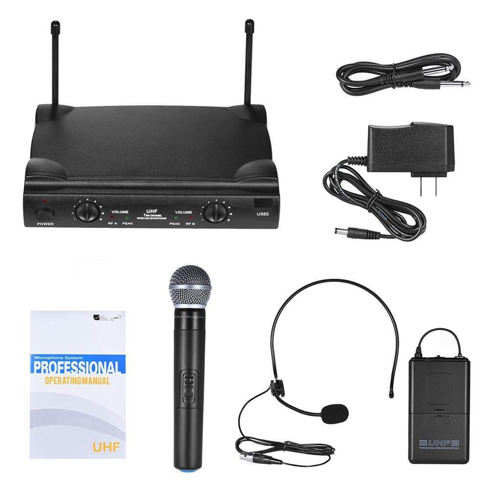 UHF Ganda Saluran Mikrofon Nirkabel Mikrofon Sistem dengan 1 Bodypack Pemancar 1 Headset dan 1 Mikrofon Genggam Penerima 6.35 Mm kabel Audio-Internasional