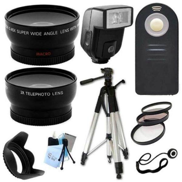 Ultimate Accessory Package for Nikon D3000, D3100, D3200, D5100, D5200, D5300, D7100, D7000 Digital SLR Cameras Includes: Full size Tripod + 52mm Wide Angle and Telephoto Fixed Lens + Flash + Filter Kit and Hood + Wireless Remote - intl