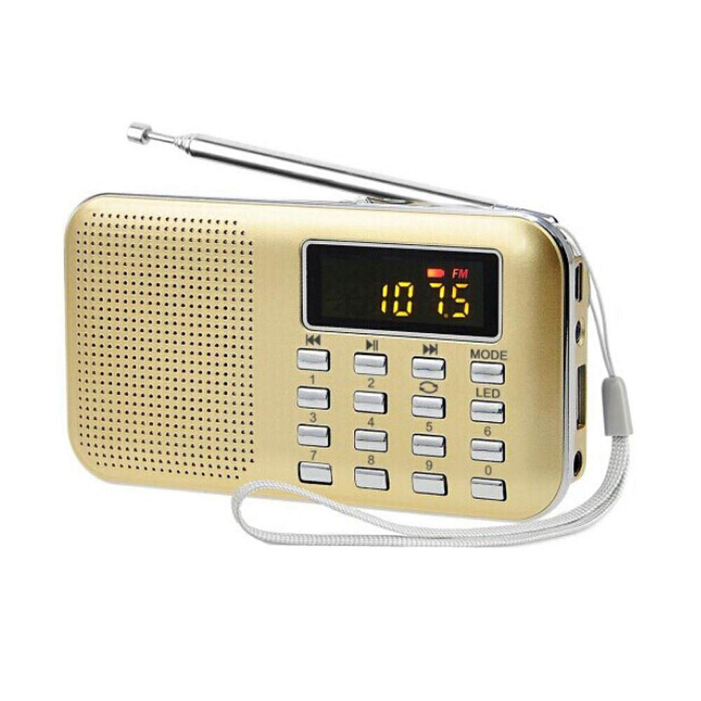SOUTH RISE  Ultra-thin FM AM Radio Digital Supper Bass Mini Speaker LCD AUX USB TF LED Light