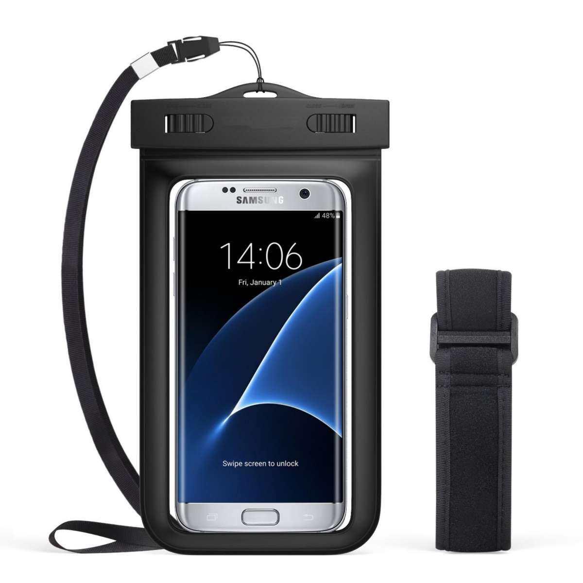 Universal Tahan Air Case, Ponsel Tas Kering dengan Ban Lengan Tali Leher untuk iPhone 7, 7 Plus, 6 S, 6, 6 S Plus, SE, 5 S, Note5, S7 Edge Xiaomi Note 4, ...
