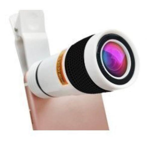 Universal Lensa Zoom Ollo Klip-On Teleskop untuk Kamera Ponsel 8X Zoom Kompatibel dengan iPhone Samsung Lampiran Aksesori pembesaran Yang Kuat Pembesaran Lensa Telephoto Klip Warna Hitam dan Putih-Internasional