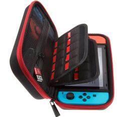 [Yang] Butterfox Nintendo Switch Casing Bawa Keras dengan 19 Kartrid Game dan 2 Micro Sd Tempat Kartu-Merah/Hitam