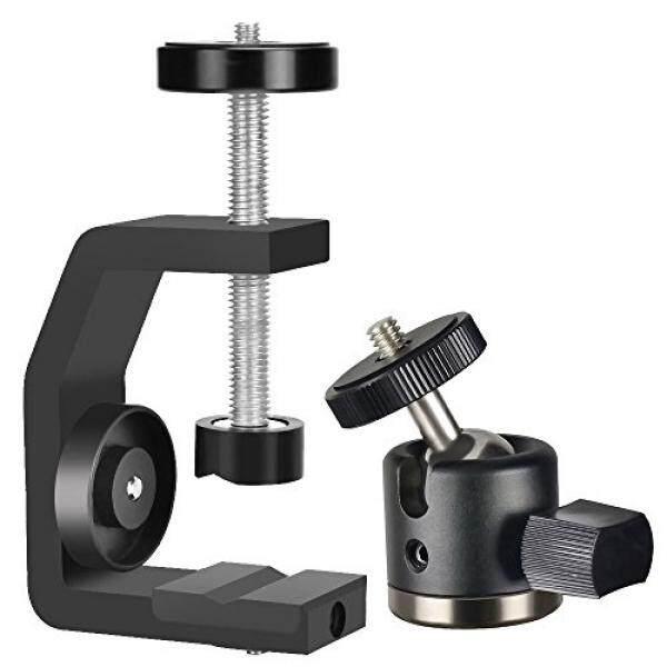Utebit Utebit Mini Kepala Tripod dengan C Klem Dudukan Kamera Set 360 Derajat Putar Bola Kepala Mount Max Membuka 60 Mm DSLR Dudukan Kamera Clamp dengan 1/4 Screw Thread untuk SLR DSL Kamera Perkakas Bertualang-Intl