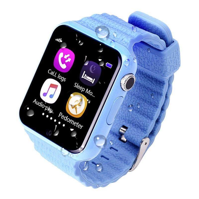 4 Warna V7K Layar Sentuh Tahan Air Anak-anak Smartwatch dengan Kamera Jarak Jauh Wifi SOS Call Alat Pelacak Lokasi Pelacak GPS Aman Anti Hilang (HITAM biru, Hijau, Merah Muda)-Intl