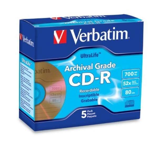 Verbatim 700MB 52x UltraLife Archival Grade Gold Recordable Disc CD-R, 5-Disc Jewel Case 96319 - intl