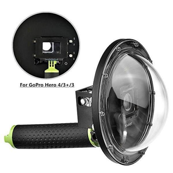 Vicdozia Update Versi 6 Dome Port Di Bawah Air Menyelam Lensa Kamera Transparan Sarung Wadah Pelindung Fotografi Bawah Air untuk GOPRO HERO 4 3 + 3 Hitam, perak-Intl