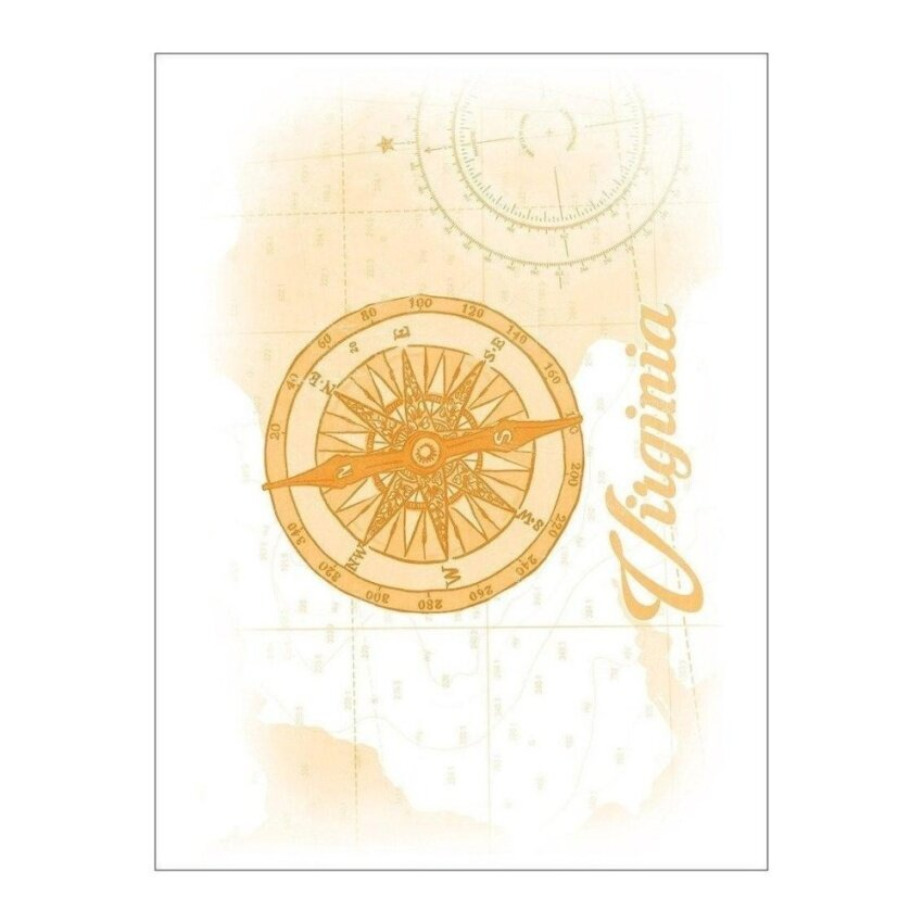 Virginia - Compass - Yellow - Coastal Icon (Playing Card Deck - 52Card Poker Size with Jokers) - intl