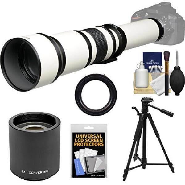 Vivitar 650-1300mm f/8-16 Telephoto Lens (White) (T Mount) with 2x Teleconverter (=2600mm) + Tripod + Kit for Canon EOS 6D, 70D, 7D, 5DS, 5D Mark II III, Rebel T5, T5i, T6i, T6s, SL1 Camera - intl