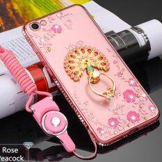 MYR 29 vivo y55 Phone Case, Glitter Crystal Floral Series - Slim Luxury Bling Rhinestone Clear TPU Case With Ring Stand ...