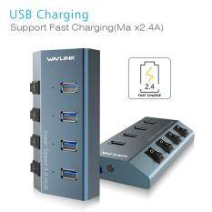 Hình ảnh Wavlink Aluminum 4-Port USB 3.0 Hub, 3 USB 3.0 +1 Fast Charging with Individual Switches, LEDs, 2.6ft Extension Cable, 20V/4A Power Adapter for PCs, Ultrobooks, Macbook, etc