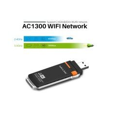 Wavlink Dual Band AC1300 Wireless USB 3.0 Adapter - 2.4GHz 400Mbps/5Ghz 867Mbps WPS & Soft AP, Support Windows XP/7/8/8.1/10, USB 3.0 Wifi Network LAN Card Dongle,1300Mbps USB WIFI adapter - Black