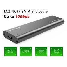 Wavlink USB C M.2 NGFF Ổ Cứng SATA to USB C SSD Caddy-Loại C Gen 2 tốc độ cao lên tới 10 Gbps với Thiết Kế Vỏ Nhôm, bao gồm cả USB TYPE-C và USB 3.0 Dây Cáp