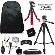 Well Padded Camera Backpack + 60 inch Tripod + 12 inch Flexible Tripod + Kit for Canon EOS 80D, 70D, 60D, 7D, 7D Mark II,EOS Rebel T6, T6i, T6S, T5i, T5, T4i, T3i, EOS 1300D, 1200D, 1100D, 760D, 750D