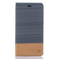 Dengan Tempat Kartu dan Fungsi Dudukan PU Kulit Flip Case Sampul untuk Asus Zenfone 3 ZE552KL 5.5 Inch (Abu-abu Gelap)