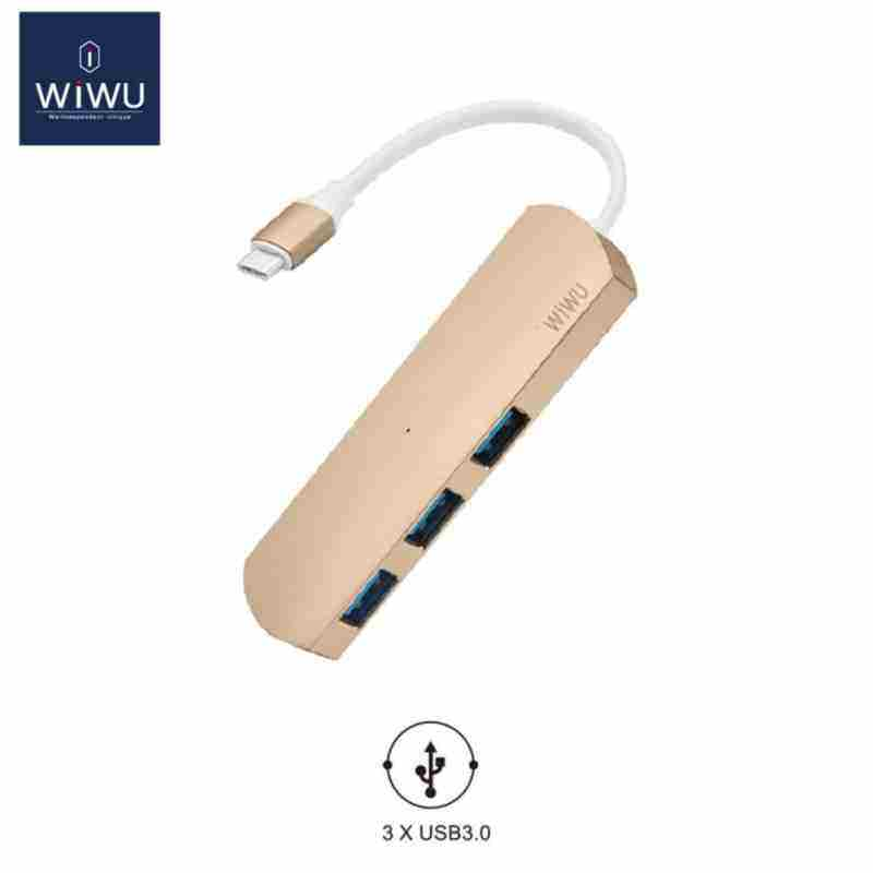 AllRise WIWU USB 3.0 Type C for MacBook Hub USB 3.0 High Speed Transmission USB for MacBook Pro Adapter Card Reader USB(Gold)