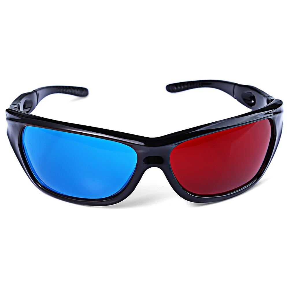 Kacamata Hitam Bagus Berbentuk Merah + Lensa Biru Anaglyph Sirkuler 3 Dimensi 3D Kacamata untuk 3D Permainan 3D DVD Film-Intl