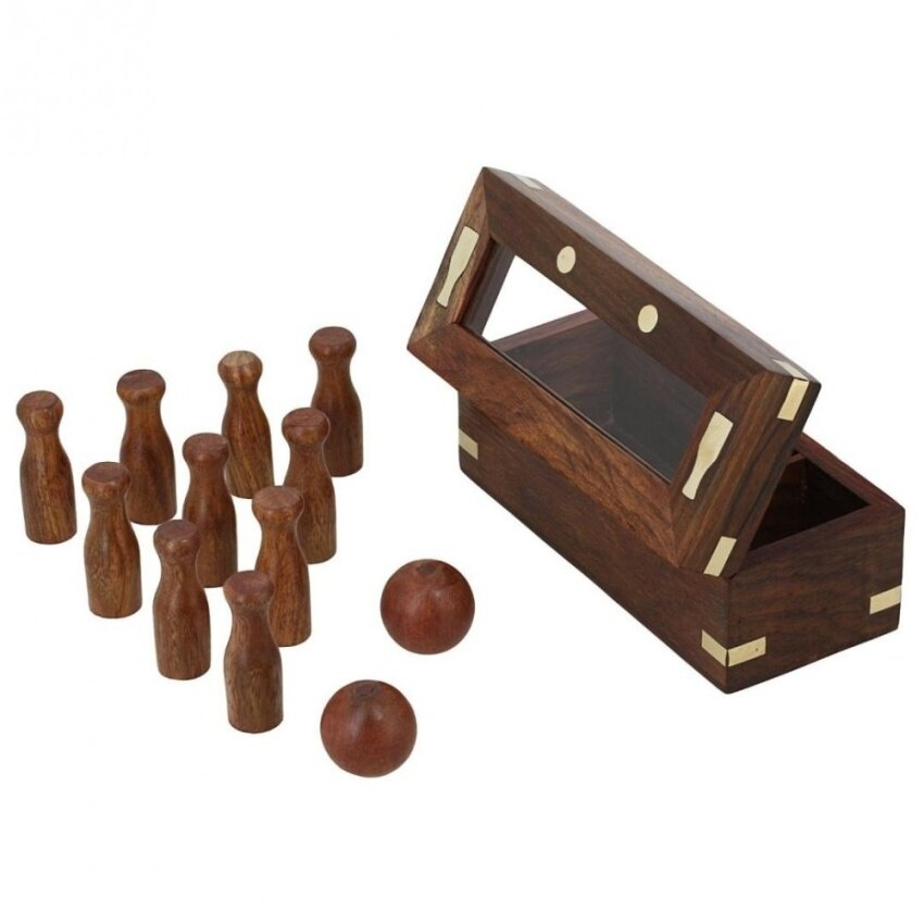 Wooden Game Bowling Set for Kids 2 Balls and 10 Pins HandmadeValentine Gifts - intl