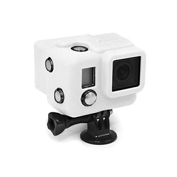 X-Sories SLCV4A Berkerudung Silikon Schutzh? pesan Tiket MIT LCD F? R GoPro Kamera (Kompatibel MIT HERO3 +/4, Baterai-Rucksack) Wei?? -Intl