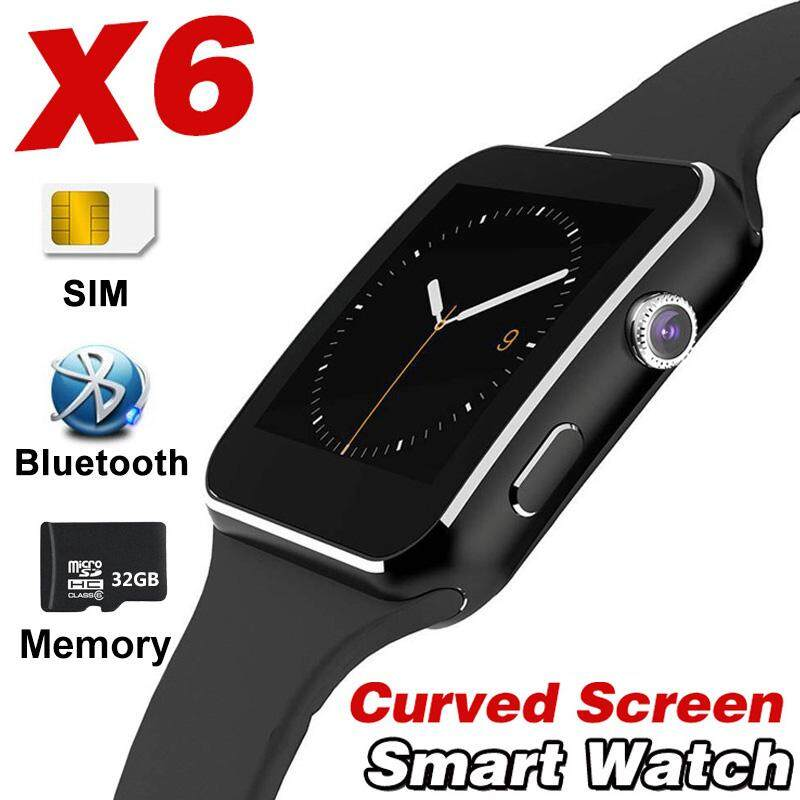 X6 Smart Watch Curved Screen Alloy Bluetooth SmartWatch Music Record Mail Radio For IOS Android Apple Iphone Samsung VS A1 Y1 X7 - intl