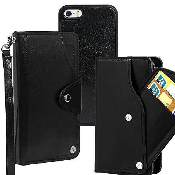 Xhorizon TM Flk [Upgrade] [Dapat Dilepas] [Separable] 2 Dalam 1 Terbaik Bifold Kulit Magnetik mobil Dudukan Pemegang Telepon Kompatibel Tali Penyandang Dompet Case untuk iPhone 5 S/Iphone Se (2016) (Hitam)-Internasional