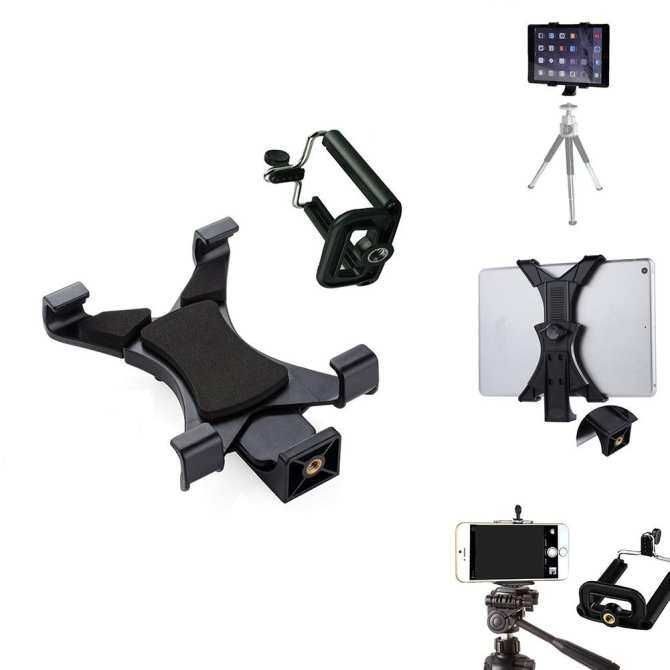 YBC Universal Tablet Tripod Mount Adapter + Cell Phone Holder Clamp for iPhone Samsung Tab