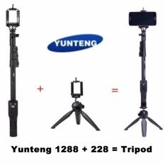YUNTENG YT-1288 Extendable Selfie Stick Monopod with Bluetooth Remote Shooting + 228 Mini Tripod For iPhone 5 6 6S Samsung GoPro Sony Cameras