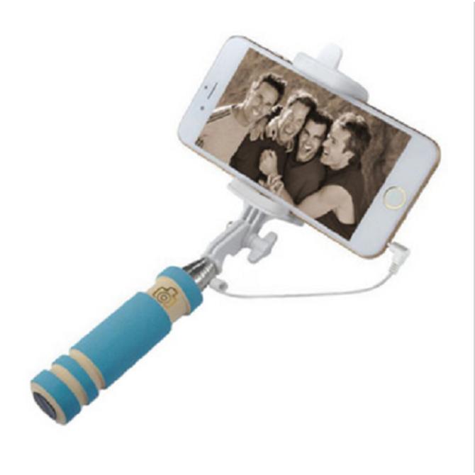 ZX-S3 Foldable Handheld Alat Pengendali Tiang Kabel Selfie Tongkat Dapat Diperpanjang Monopod Teleskopis Biru