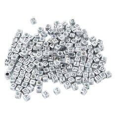 200 Pcs Acrylic Alphabet Beads With Black Letters Silver Cube Square Shaped By Honeymore.