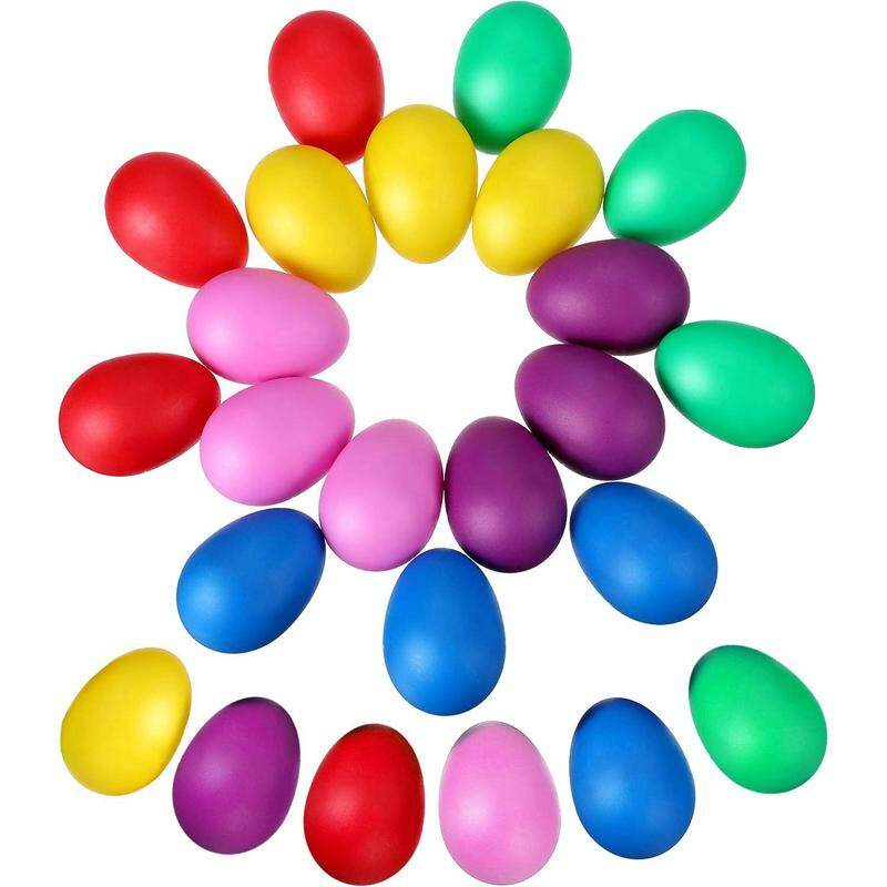 24 Pieces Egg Shaker Set Easter Eggs Maracas Eggs Musical Eggs Plastic Eggs For Easter Party Favours Party Supplies Musical Toys, 6 Colors