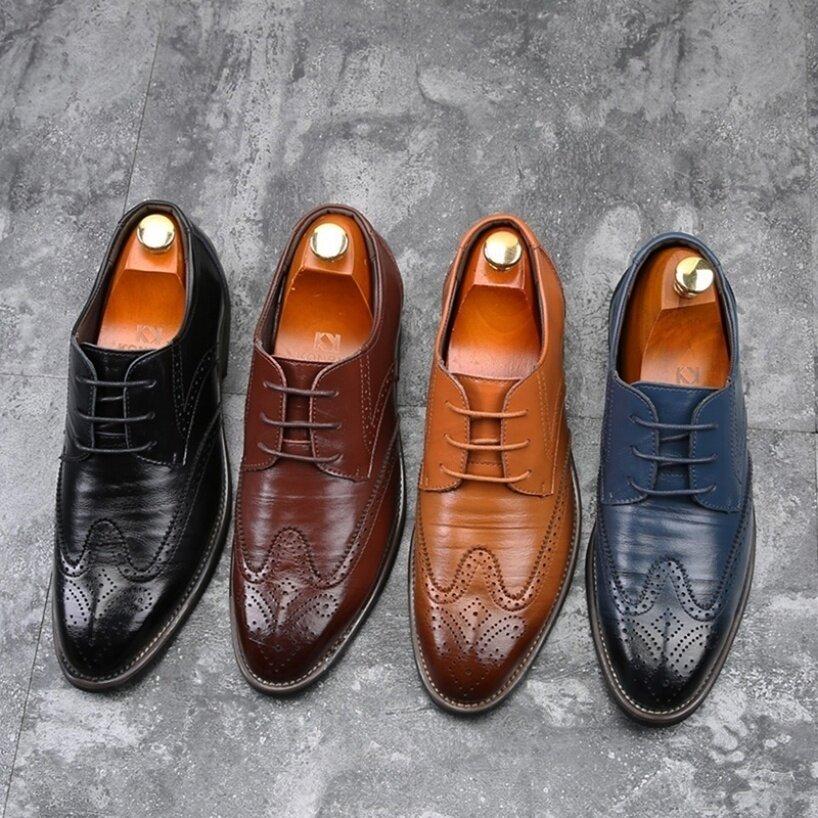Giày Oxford Kangche Đục Lỗ Cho Nam, Giày Da Cột Dây Kiểu Brogue, Mũi Nhọn giá rẻ