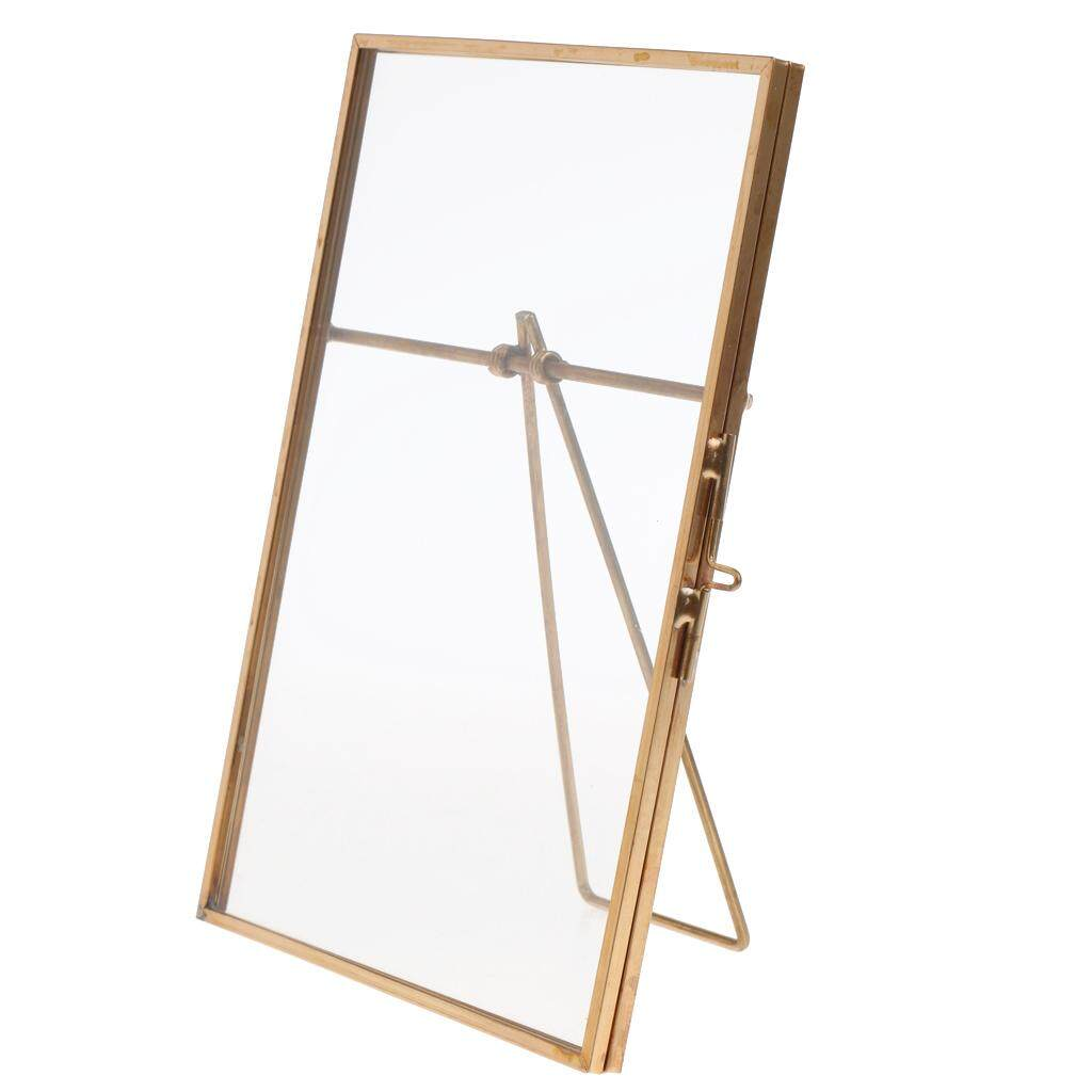 GuangquanStrade Vintage Metal & Glass Freestanding Photo Picture Frame Tabletop Portrait Holder