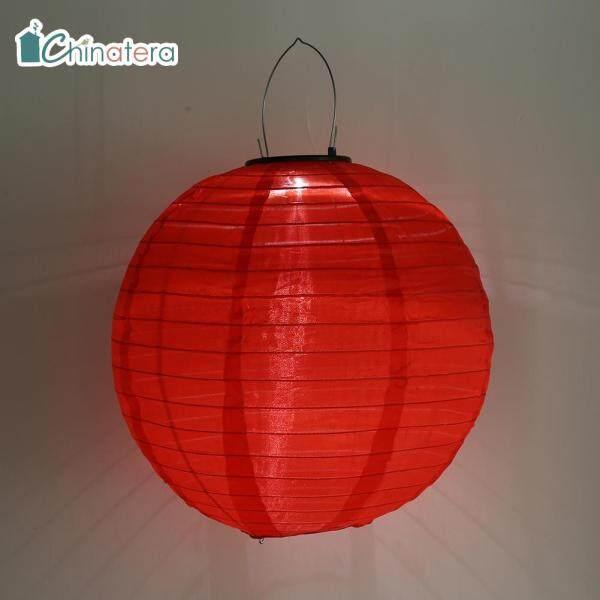 [Chinatera] Đèn LED Năng Lượng Mặt Trời 12Inch, Đèn Lồng Lễ Hội Truyền Thống Trung Quốc Đèn Treo Ni Lông Chống Thấm Nước Chiếu Sáng Cảnh Quan Trang Trí Sân Vườn Ngoài Trời Sân Nhà